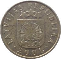 obverse of 10 Santimu (1992 - 2008) coin with KM# 17 from Latvia. Inscription: LATVIJAS REPUBLIKA · 2008 ·