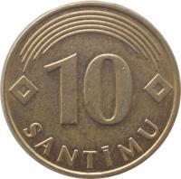 reverse of 10 Santimu (1992 - 2008) coin with KM# 17 from Latvia. Inscription: 10 SANTIMU