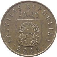 obverse of 20 Santimu (1992 - 2009) coin with KM# 22 from Latvia. Inscription: LATVIJAS REPUBLIKA · 2009 ·