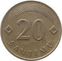 reverse of 20 Santimu (1992 - 2009) coin with KM# 22 from Latvia. Inscription: 20 SANTIMU