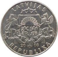 obverse of 1 Lats (1992 - 2008) coin with KM# 12 from Latvia. Inscription: LATVIJAS 20 08 REPUBLIKA