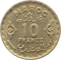 reverse of 10 Francs - Mohammed V (1952) coin with Y# 49 from Morocco. Inscription: MAROC 10 FRANCS J.HAINAUT