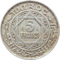 reverse of 5 Francs - Mohammed V (1951) coin with Y# 48 from Morocco. Inscription: MAROC 5 FRANCS