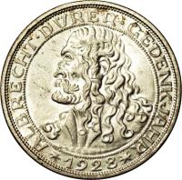 reverse of 3 Reichsmark - Albrecht Dürer (1928) coin with KM# 58 from Germany.