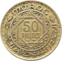 reverse of 50 Francs - Mohammed V (1952) coin with Y# 51 from Morocco. Inscription: MAROC 50 FRANCS