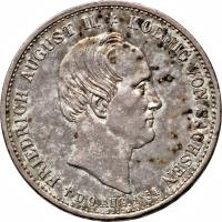 obverse of 1 Thaler - Friedrich August II - Death (1854) coin with KM# 1180 from German States. Inscription: FRIEDRICH AUGUST II. ✶ KOENIG VON SACHSEN † D. 9. AUG. 1854