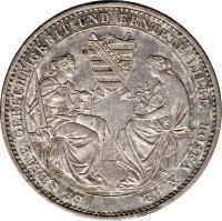 reverse of 1 Thaler - Friedrich August II - Death (1854) coin with KM# 1180 from German States. Inscription: ER SÆETE GERECHTIGKEIT UND ERNTETE LIEBE. HOSEA X. 12.
