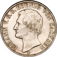 obverse of 1 Vereinsthaler - Johann (1858 - 1861) coin with KM# 1199 from German States. Inscription: IOHANN V.G.G. KOENIG VON SACHSEN