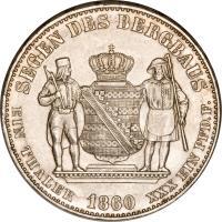 reverse of 1 Vereinsthaler - Johann (1858 - 1861) coin with KM# 1199 from German States. Inscription: SEGEN DES BERGBAUS EIN THALER 1860 XXX EIN PFD. F.