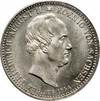 obverse of 1/3 Reichsthaler - Johann - Death of King (1854) coin with KM# 1179 from German States. Inscription: FRIEDRICH AUGUST II*KOENIG VON SACHSEN D.9 AUG.1854