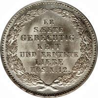 reverse of 1/3 Reichsthaler - Johann - Death of King (1854) coin with KM# 1179 from German States. Inscription: ER SAETE GERECHTIGKEIT UND ERNTETE LIEBE HOS.X.12.