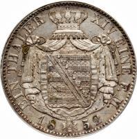 reverse of 1 Thaler - Friedrich August II (1850 - 1854) coin with KM# 1175 from German States. Inscription: EIN THALER XIV EINE F. M. 1852