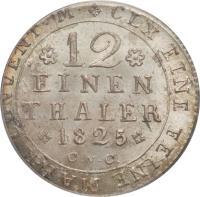 reverse of 1/12 Thaler - Karl II (1823 - 1830) coin with KM# 1104 from German States. Inscription: CLX EINE FEINE MARK CONVENT.M. 12 EINEN THALER 1828 CvC