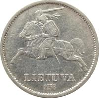 obverse of 10 Litų - Grand Duke of Lithuania Vytautas (1936) coin with KM# 83 from Lithuania. Inscription: LIETUVA 1936