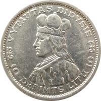 reverse of 10 Litų - Grand Duke of Lithuania Vytautas (1936) coin with KM# 83 from Lithuania. Inscription: VYTAUTAS DIDYSIS 10 DEŠIMTS LITŲ 10