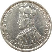 reverse of 10 Litų - Grand Duke of Lithuania Vytautas (1936) coin with KM# 83 from Lithuania. Inscription: VYTAUTAS DIDYSIS 10 DEŠIMTS LITŲ 10