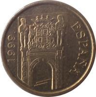 obverse of 5 Pesetas - Juan Carlos I - Murcia (1999) coin with KM# 1008 from Spain. Inscription: ESPAÑA 1999
