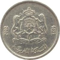 obverse of 1/2 Dirham - Mohammed VI - Telecommunications (2002) coin with Y# 116 from Morocco. Inscription: 1423 - 2002 المملكة المغربية