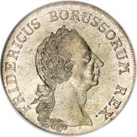 obverse of 1 Reichsthaler - Friedrich II (1764) coin with KM# 307 from German States. Inscription: FRIDERICUS BORUSSORUM REX.