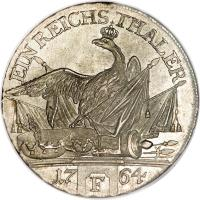 reverse of 1 Reichsthaler - Friedrich II (1764) coin with KM# 307 from German States. Inscription: EIN REICHSTHALER 1764 F