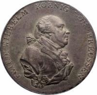 obverse of 1 Reichsthaler - Friedrich Wilhelm II (1790 - 1797) coin with KM# 360 from German States. Inscription: FRIED: WILHELM KOENIG VON PREUSSEN