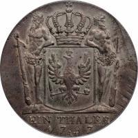 reverse of 1 Reichsthaler - Friedrich Wilhelm II (1790 - 1797) coin with KM# 360 from German States. Inscription: EIN THALER 1797 A