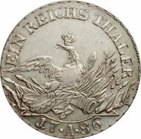 reverse of 1 Reichsthaler - Friedrich II - Mintmark between dots (1786) coin with KM# 347 from German States. Inscription: EIN REICHS THALER 17 · A · 86