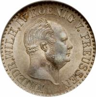 obverse of 1/2 Silber Groschen - Friedrich Wilhelm IV (1853 - 1860) coin with KM# 461 from German States. Inscription: FRIEDR.WILH.IV KOENIG V. PREUSSEN