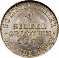 reverse of 1/2 Silber Groschen - Friedrich Wilhelm IV (1853 - 1860) coin with KM# 461 from German States. Inscription: · 60 EINEN THALER · 1/2 SILBER GROSCHEN 1860 A SCHEIDE MÜNZE