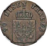 obverse of 4 Pfennige - Friedrich Wilhelm IV (1843 - 1845) coin with KM# 450 from German States. Inscription: 90 EINEN THALER
