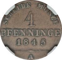 reverse of 4 Pfennige - Friedrich Wilhelm IV (1843 - 1845) coin with KM# 450 from German States. Inscription: SCHEIDE MUNZE 4 PFENNIGE 1845 A