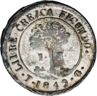 reverse of 1 Real - Provisional Coinage (1845 - 1849) coin with KM# 18b from Honduras.
