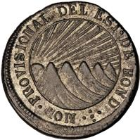 obverse of 1 Real - Provisional Coinage (1851 - 1852) coin with KM# 18c from Honduras.