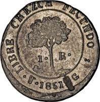 reverse of 1 Real - Provisional Coinage (1851 - 1852) coin with KM# 18c from Honduras.