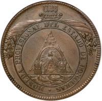 obverse of 8 Pesos - Provisional Coinage (1862) coin with KM# 27 from Honduras. Inscription: MONEDA PROVISIONAL DEL ESTADO DE HONDURAS