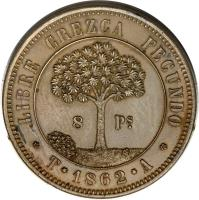 reverse of 8 Pesos (1862) coin with KM# Pn4 from Honduras.