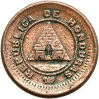 obverse of 1/2 Centavo (1881 - 1891) coin with KM# 45 from Honduras. Inscription: REPUBLICA DE HONDURAS