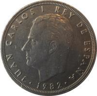 obverse of 50 Pesetas - Juan Carlos I - With mintmark (1982 - 1984) coin with KM# 825 from Spain. Inscription: JUAN CARLOS I REY DE ESPAÑA · 1983 ·