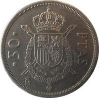 reverse of 50 Pesetas - Juan Carlos I - With mintmark (1982 - 1984) coin with KM# 825 from Spain. Inscription: · 50 · PTAS M