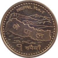 reverse of 1 Rupee - Gyanendra Bīr Bikram Shāh Dev (2007 - 2009) coin with KM# 1204 from Nepal. Inscription: NEPAL Re.1 नेपाल १ रूपैयाँ