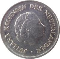 obverse of 25 Cents - Juliana (1950 - 1980) coin with KM# 183 from Netherlands. Inscription: JULIANA KONINGIN DER NEDERLANDEN