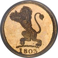 obverse of 1 Cash (1803) coin with KM# 315c from India.