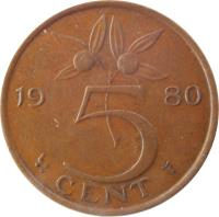 reverse of 5 Cents - Juliana (1950 - 1980) coin with KM# 181 from Netherlands. Inscription: 1979 5 CENT