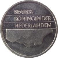obverse of 25 Cents - Beatrix (1982 - 2001) coin with KM# 204 from Netherlands. Inscription: BEATRIX KONINGIN DER NEDERLANDEN