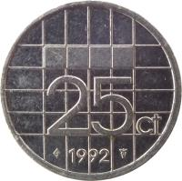 reverse of 25 Cents - Beatrix (1982 - 2001) coin with KM# 204 from Netherlands. Inscription: 25ct 2000