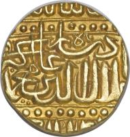 reverse of 1 Mohur - Abu'l-Fath Jalal ud-din Muhammad Akbar - Ahmadabad (1575 - 1579) coin with KM# 108.2 from India.