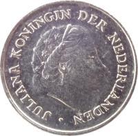 obverse of 10 Cents - Juliana (1950 - 1980) coin with KM# 182 from Netherlands. Inscription: JULIANA KONINGIN DER NEDERLANDEN