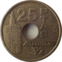 reverse of 25 Pesetas - Juan Carlos I - Tower of Gold in Seville (1992) coin with KM# 905 from Spain. Inscription: 25 PTAS SEVILLA '92
