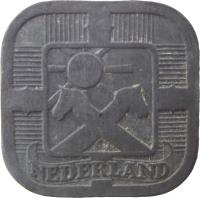 obverse of 5 Cents - Wilhelmina - German Occupation (1941 - 1943) coin with KM# 172 from Netherlands. Inscription: NEDERLAND