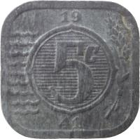 reverse of 5 Cents - Wilhelmina - German Occupation (1941 - 1943) coin with KM# 172 from Netherlands. Inscription: 5c 1941